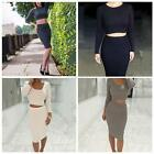 2PCS Sexy Women Bandage Bodycon Crop Top Skirt Clubwear Evening Party Mini Dress