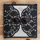 Black Hollow Lace Personlized Laser Cut Wedding Invitation With Envelope Seal
