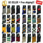4,8,12 Pairs Mens Dress Socks Cotton Fashion Crew Multi-Color Casual Size 10-13