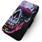 Half Skull Designs Printed Faux Leather Flip Phone Cover Case