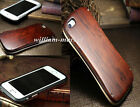 Natural Wood Hard Back Cover Aluminum Stainless Bumper Case for iPhone 6 6s SE 5