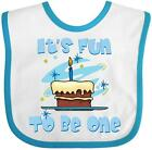 Inktastic Fun To Be One Blue Baby Bib 1st birthday chocolate cake candle boy for