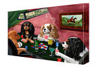 Cavalier King Charles Dogs Poker Art Wrapped Canvas Wall Hanging Décor NWT