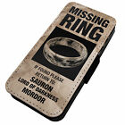 Missing Ring -Faux Leather Flip Phone Cover Case- Lord Of The Rings Gandalf Bilb