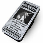 Missing Unicorn -Faux Leather Flip Phone Cover Case- Glitter Sparkles Rainbow