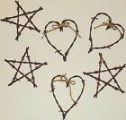 Barbed Wire Hearts & Star Sets of 6 antique Glidden's country rustic decor art