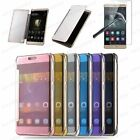 MIRROR SMART VIEW FLIP CLEAR HARD CASE COVER HUAWEI SERIES + TEMPERED GLASS FILM