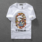 New Fashion Men's Aape Short Sleeves T-shirt Tee A Bathing Ape Tops White Black
