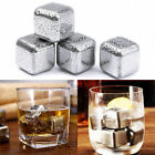 1/4pcs Stainless Steel Whisky Wine Ice Stones Drinks Cooler Cubes Whiskey Scotch