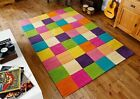 Hand Tufted 100% Wool Multi Coloured Square Design Rug Carpet Comes In 3 Sizes