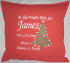 Merry Christmas Personalised Tree Xmas gift Sofa Bed Car Home Decor Red cushion
