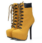 Womens Punk Lace Up Stiletto High Heel Motorcycle Biker Platform Ankle Boots
