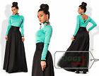 Beautiful Stylish Woman Skirt Suit Diving Long Sleeve Casual Full-Length Maxi