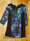 NEW Plus 2X Notations Black Floral Mix Long Casual Blouse Tunic Top NWT