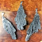 Black Kyanite Necklace - Crystal Point Fan Charm Pendant Silver Plated (LR45)