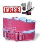 """ISLERO 6"""" 4"""" Ladies Pink Pure Leather Gym Belts Weightlifting Back Support Strap"""
