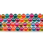 Mixed Crystal Color Synthetic Tourmaline Gemstone Round Beads 15""