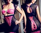 Sexy Lingerie Babydoll Satin Ribbon Chemise Evening Gowns Open Bust Metal Charm