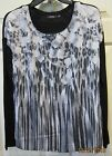 Ladies APT9 Gray Black White Floral Spandex Blend Lg Sleve Knit Top Blouse Sz S