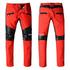 New Mens France Style Distressed Moto Pants Biker JEANS Black/Red Trousers B970C