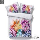 Colorful Zebras Quilt/Duvet Cover Set Single/King/Queen Bed New Doona Covers