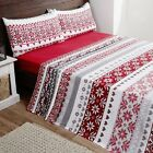 Rapport Grey Red Fairisle Flannelette Sheets And Pillowcase Set S/D/K