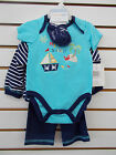 Infant Boys Vitamins Baby $36 4pc Navy & Aqua Set Size 3 Months - 9 Months