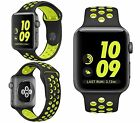 Silicone Sport Band Replacement Strap Wristband For Apple Watch 2&1 Black/Green