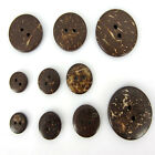 """3/8"""" 1/2"""" 5/8"""" 3/4"""" 1"""" Brown Coconut Shell 2-Holes Buttons For Sewing Scrapbook"""
