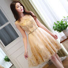 Gold Short Evening Cocktail Formal Party Ball Bridesmaid Wedding Prom Gown Dress