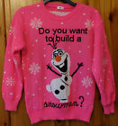 kids olaf frozen xmas christmas jumper neon pink build a snowman white 7-12 yrs