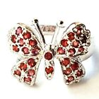 RUBY RED BUTTERFLY RING Sparkling Red CZ Stones 925 Sterling Silver (SIZE 6,7,8