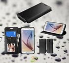 BLACK Leather Card Wallet Case Cover Flip Folio Pouch Fold Stand For LG Phone