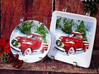 "MAGENTA Christmas RED TRUCK w/DOG TREES Lunch/Desert PLATES 6.2""-7"" FREE SHIP"