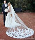 Cathedral Bridal Wedding Veils 2 Tiers Lace Applique Long With Comb White Ivory