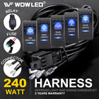 Waterproof Led Illuminated Backlit Rocker Switch + Relay Fuse Wiring Kit Suv 4wd