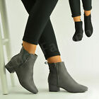 New Womens Ladies Low Block Heel Ankle Boots Zip Winter Casual Shoes Size Uk 3-8
