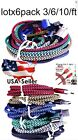 LOt x 6 pack 3/6/10ft Braided USB Cable Data Sync Charger Cord iPhone 6Plus 5s67