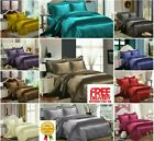 Top Quality SATIN/SILK 6 Pcs Bed Set With Duvet Cover+Fitted Sheet+4 Pillow Case