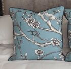 "PAIR New Gorgeous TOILE BIRDS Blue Grey Black LARGE 53cm (21"") Cushion Covers"