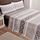 Rapport Grey/Natural Fair Isle Flannelette Sheets And Pillowcase Set S/D/K