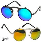 2 PC Cool Flip Up Lens Steampunk Vintage Retro Round Sunglasses Black GL Mirror