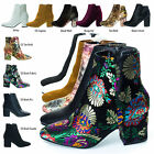Thirsty06M Block Heel Ankle Booties, Velvet Oriental Floral Print & Solid Colors