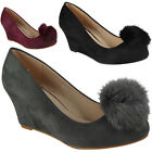 New Womens Ladies Faux Suede Pom Pom Mid Low Heel Wedge Office Work Shoes Size