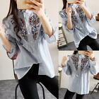 Women's Fashion Shirt Floral Embroidered Blouse Long Sleeve Blue Striped Tops