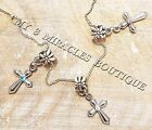 Small CROSS Necklace Silver Chain Communion Confirmation Girls Christmas Gift