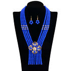 Fashion Women Chain Crystal Collar Charm Statement Pendant Bib Necklace Earring