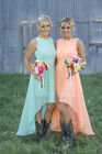 Country Bridesmaid Dresses Lace Appliques High Low Maid Of The Honor Gowns HD193