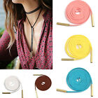 Leather Choker Charm Long Thin Suede Lace Necklace Plain Tie Wrap Boho Choker
