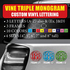 Vine Triple Monogram Custom Vinyl Lettering Text Initial Let